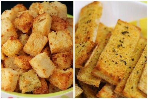 Гренки с чесноком на сковороде рецепт белый хлеб